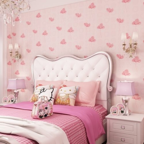 Wallpaper Dinding Kamar Tidur Remaja Perempuan Warna Pink