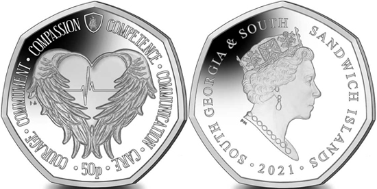 South Georgia and South Sandwich Islands 50 pence 2021 - Florence Nightingale Angel Wings