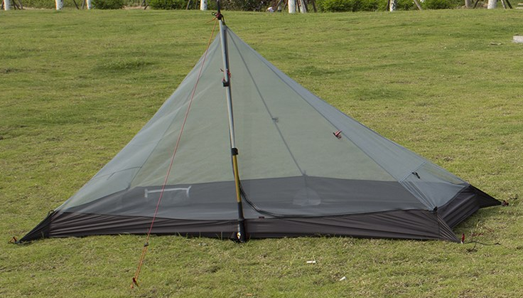 Inner pitched with trekking pole (front) : walking pole tent - memphite.com