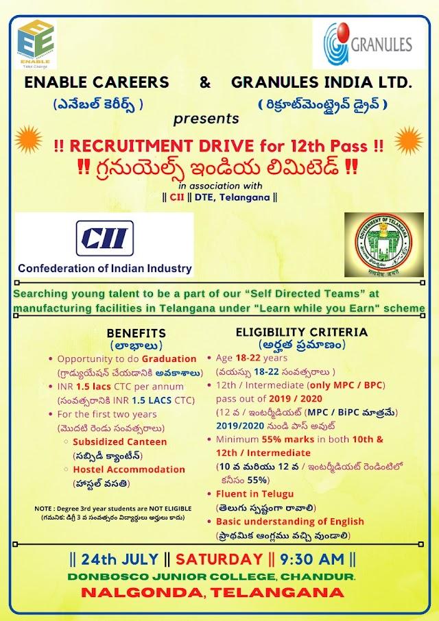 Granules India Ltd | Recruitment drive for 12th Pass on 24 Jul 2021