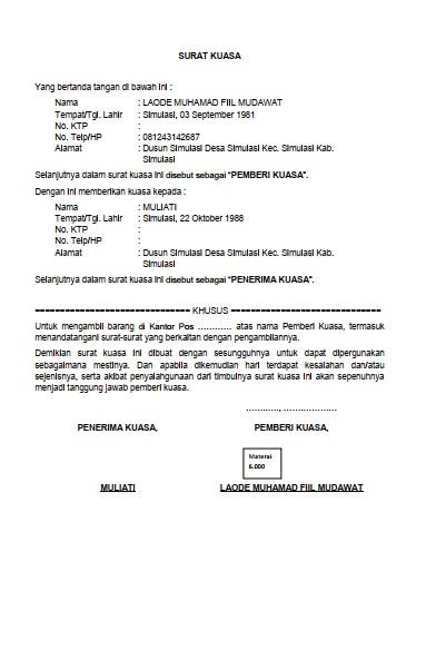 Contoh Surat Kuasa Pengambilan Barang (via: formatadministrasidesa.blogspot.com)