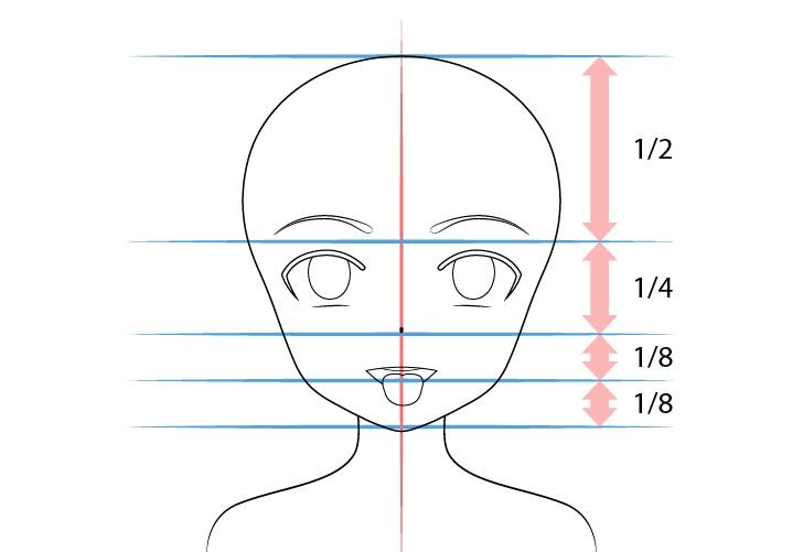 Gadis anime membuka mulut lidah keluar menggambar proporsi