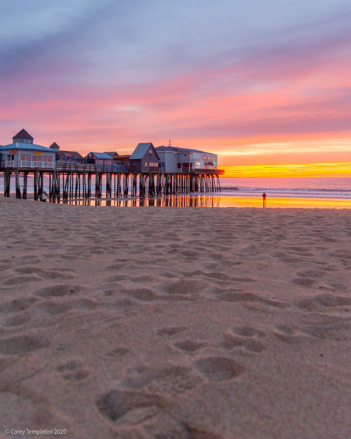 Old Orchard Beach, Maine USA photo by Corey Templeton of the ocean pier at sunrise.