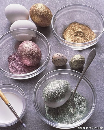 Glitter painted Easter eggs