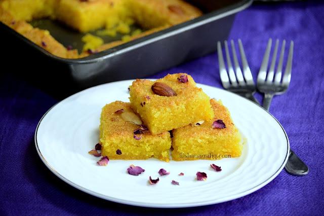 Mango Basbousa ~ Arabic Style Baked Semolina Dessert