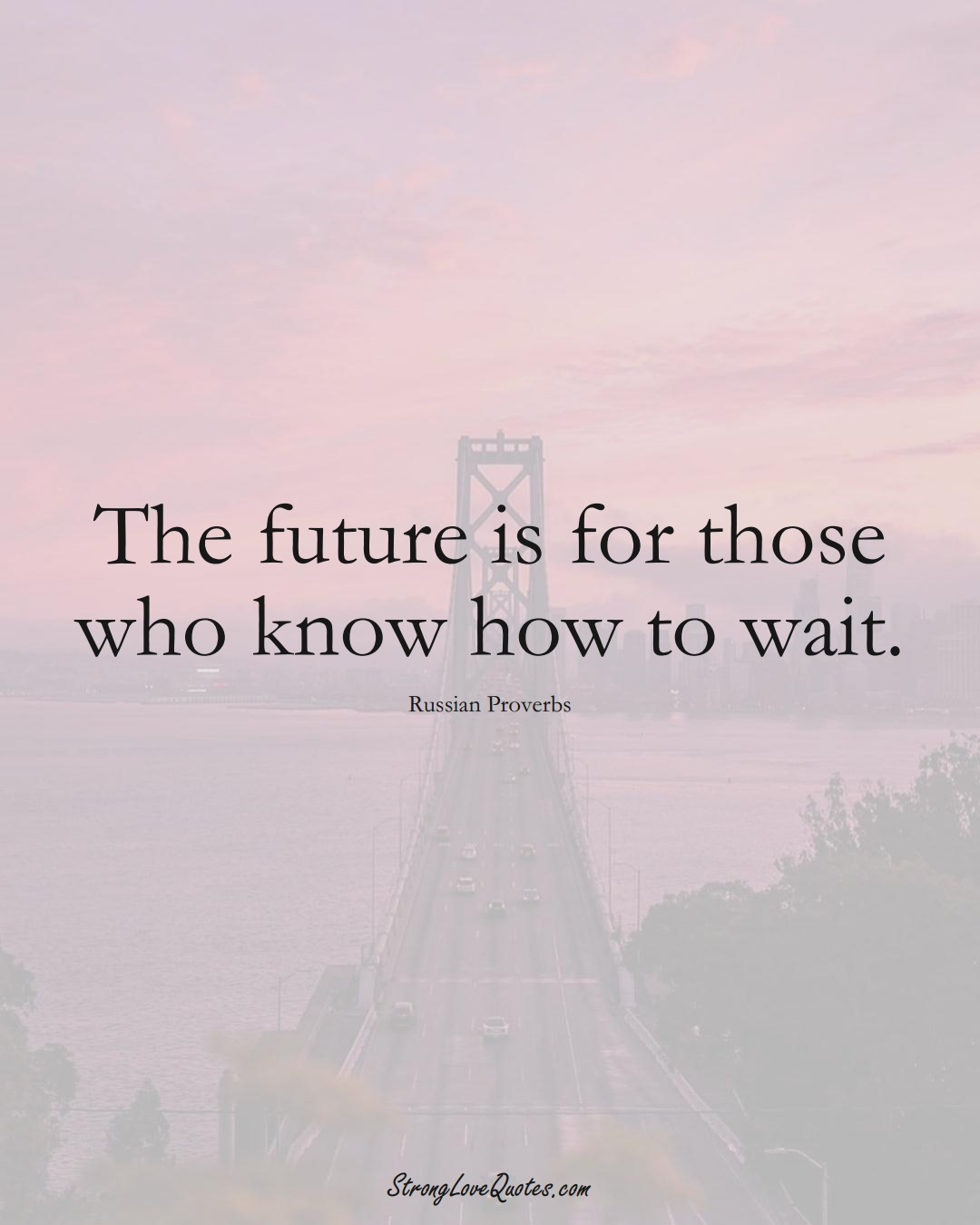 The future is for those who know how to wait. (Russian Sayings);  #AsianSayings