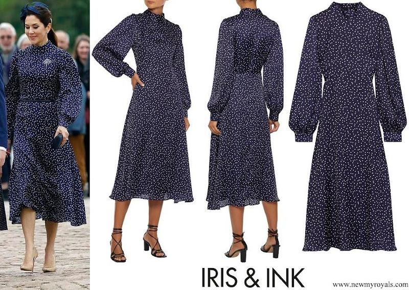 Crown Princess Mary wore IRIS & INK Alison polka-dot satin midi dress