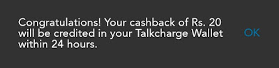 TalkCharge App Offer Get Rs.20 Cash Back