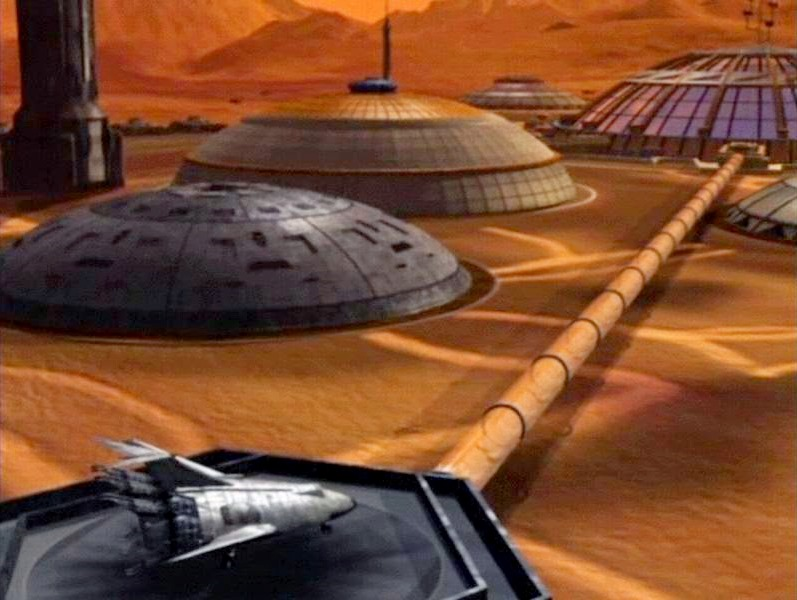 Mars in Babylon 5 - Ship at Martian colony