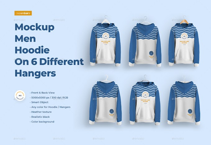 Front and Back Men Hoodie Mockup On 6 Different Hangers[Photoshop][28923565]