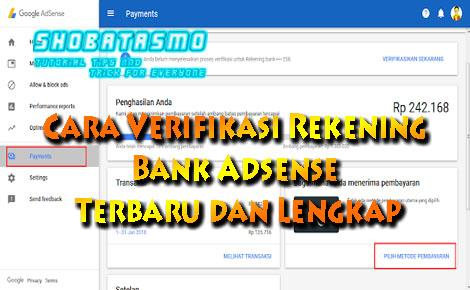Cara Verifikasi Rekening Bank Adsense Terbaru dan Lengkap