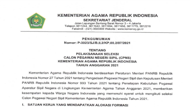 Kementerian Agaman Republik Indonesia (Kemenag) Kini Buka 1.361 Formasi CPNS Tahun Anggaran 2021, Ini Rincian dan Cara Daftarnya