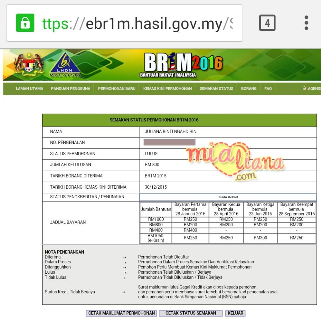 Semak Status Permohonan Br1m 2016 Mia Liana