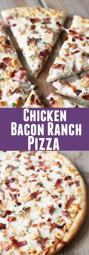 Chicken Bacon Ranch Pizza #chicken #pizza #dinner #lunch