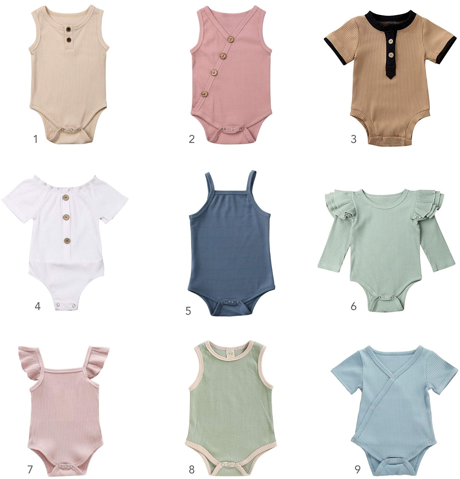 A round-up of nine cute and basic ribbed baby onesies