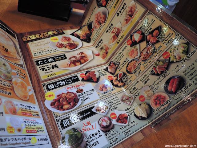Carta de Takoyaki Gindaco Highball Sakaba en Tokio