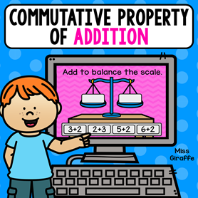 Commutative property of addition activity where kids balance the 2 addition equations to make them true