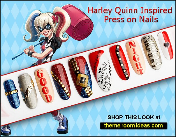 Harley Quinn Inspired Press on Nails Comic con Nail Art superhero nail decorating ideas super girls