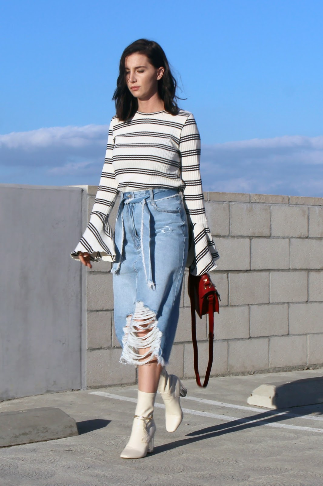 denim midi skirt, flared sleeve top, ankle boots street style