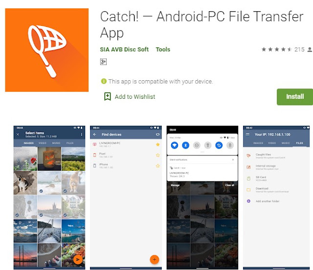 Catch! - Android-PC File Transfer App