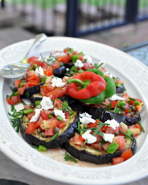 Roasted Eggplant Salad with Tomato-Caper Salsa, another Easy Summer recipe ♥ KitchenParade.com. A simple, wondrous late-summer salad. Low Carb. Weight Watchers Friendly.
