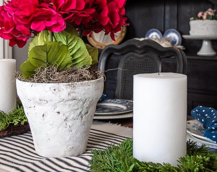 pink hydrangeas in stone flower pot