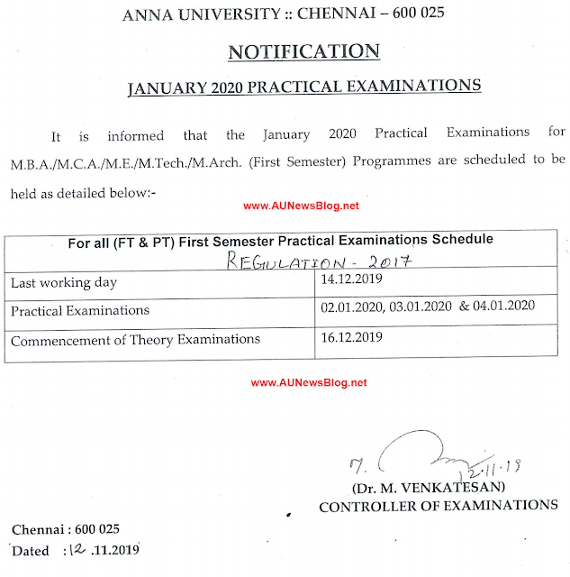 Anna University PG 1st Semester practical exam schedule January 2020