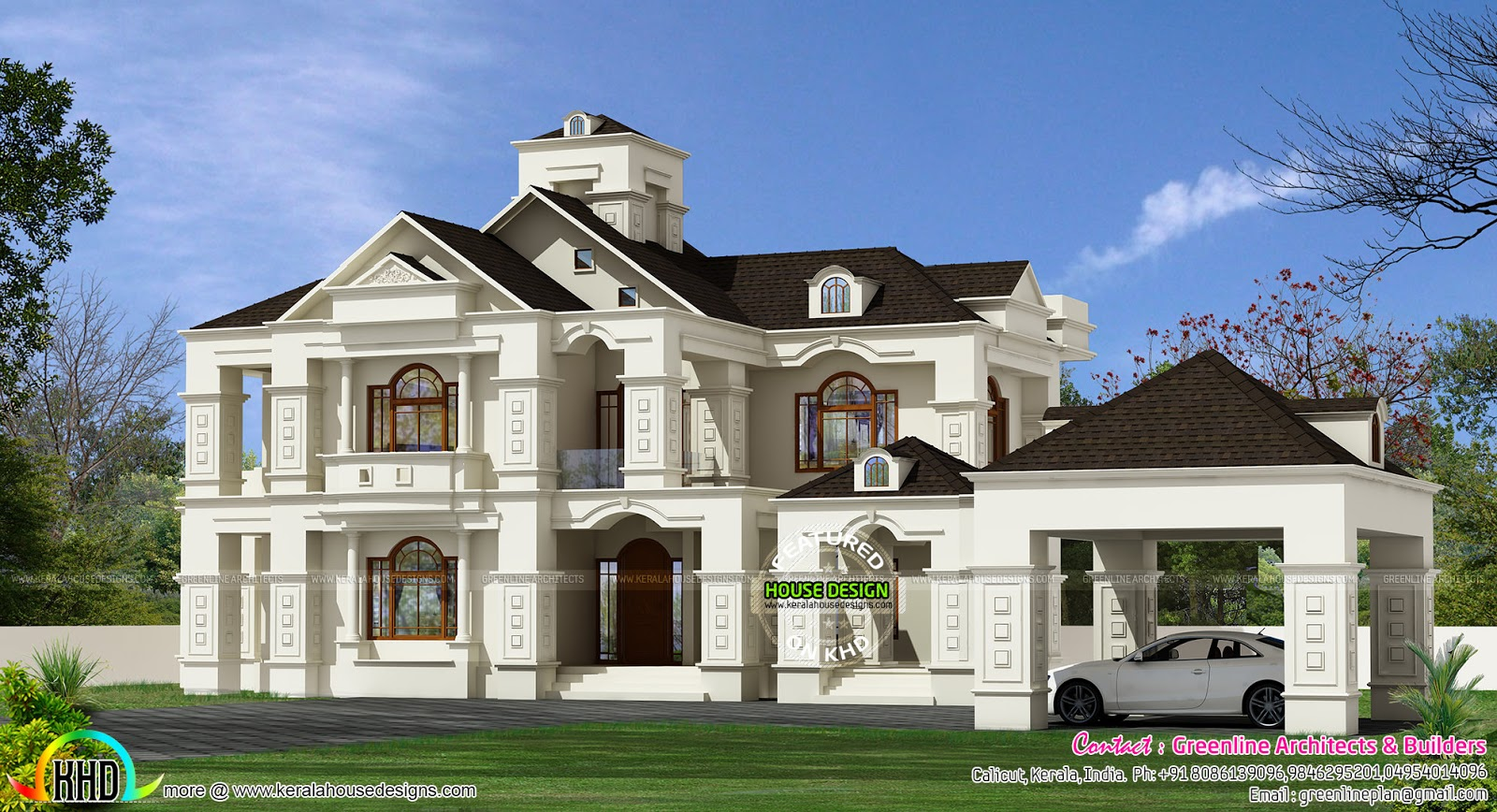 5 bedroom luxury colonial home 3150 sq ft kerala home for Colonial luxury house plans