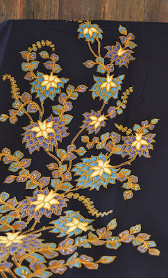 Dark Blue Thai-inspired Golden Flower Batik