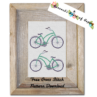 free bicycle cross stitch pattern to download
