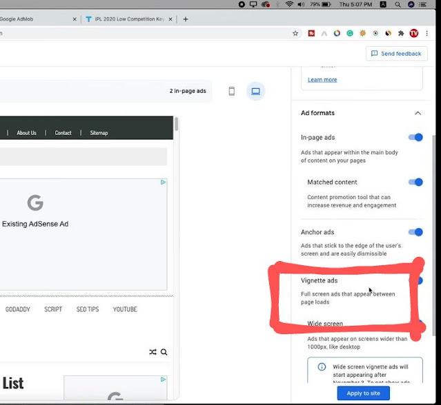 google adsense vignette ads desktop mode enable
