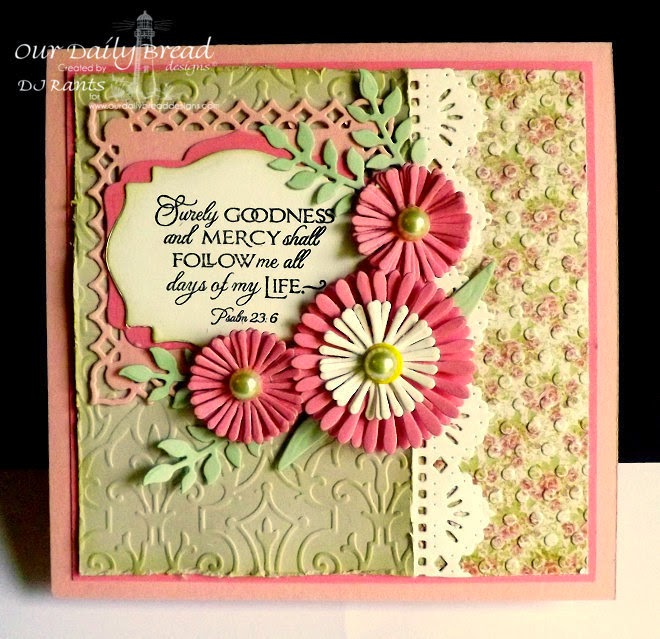 Our Daily Bread Designs, Cherry Blossom, Beautiful Borders Dies, Aster Dies, Fancy Foliage Dies, Blushing Rose Collection