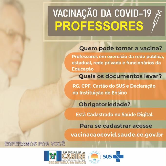 Em Cariré será iniciada vacinação da covid-19 para os professores e funcionários da Educação