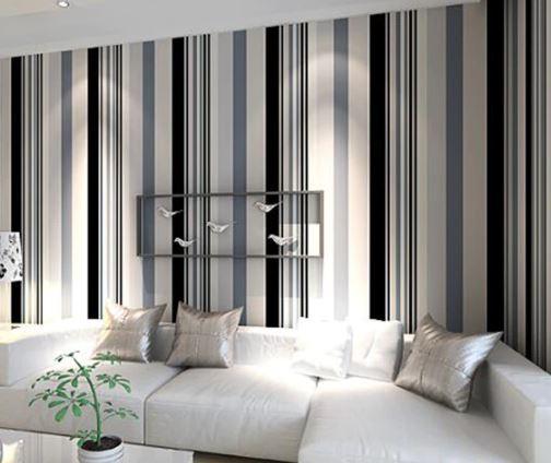 Modern Black And White Grey Vertical Stripes Wallpaper