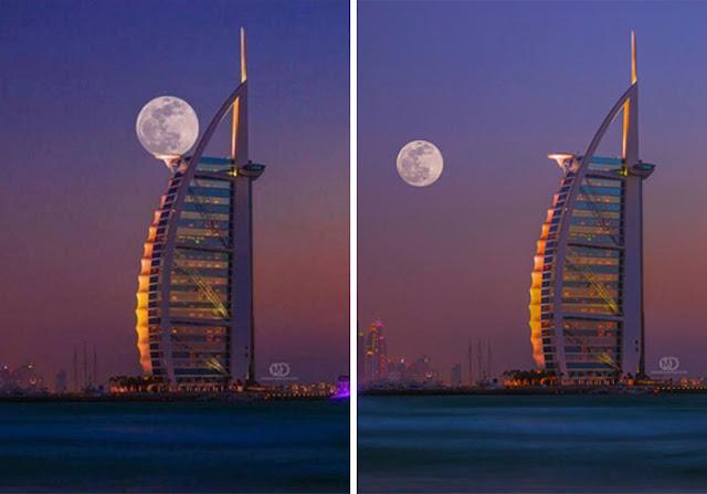 Bulan Sempurna Pas Pada Pencakar Langit