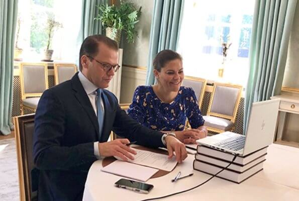 Crown Princess Victoria wore a floral print midi dress by Rodebjer. Rodebjer Zohra dress. Britt Bohlin and Minister Ann Linde