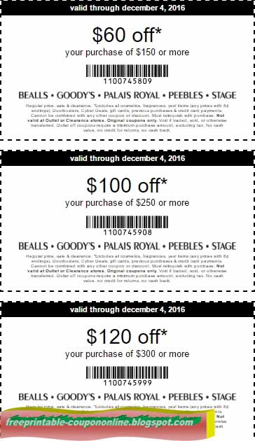 picture relating to Palais Royal Printable Coupons identified as Printable Discount codes 2019: Bealls Discount codes