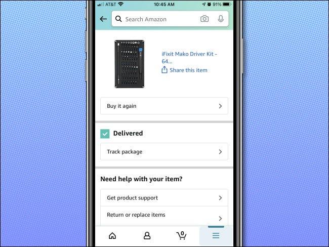 فحص الطلب بالتفصيل في تطبيق iPhone Amazon.