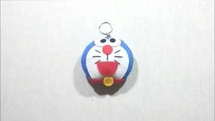 Gantungan Kunci dari Kain Flanel Bentuk Doraemon