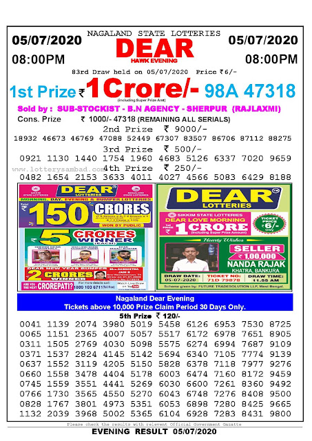 Nagaland State Lotteries 05-07-2020 Lottery Sambad Result 8:00 PM
