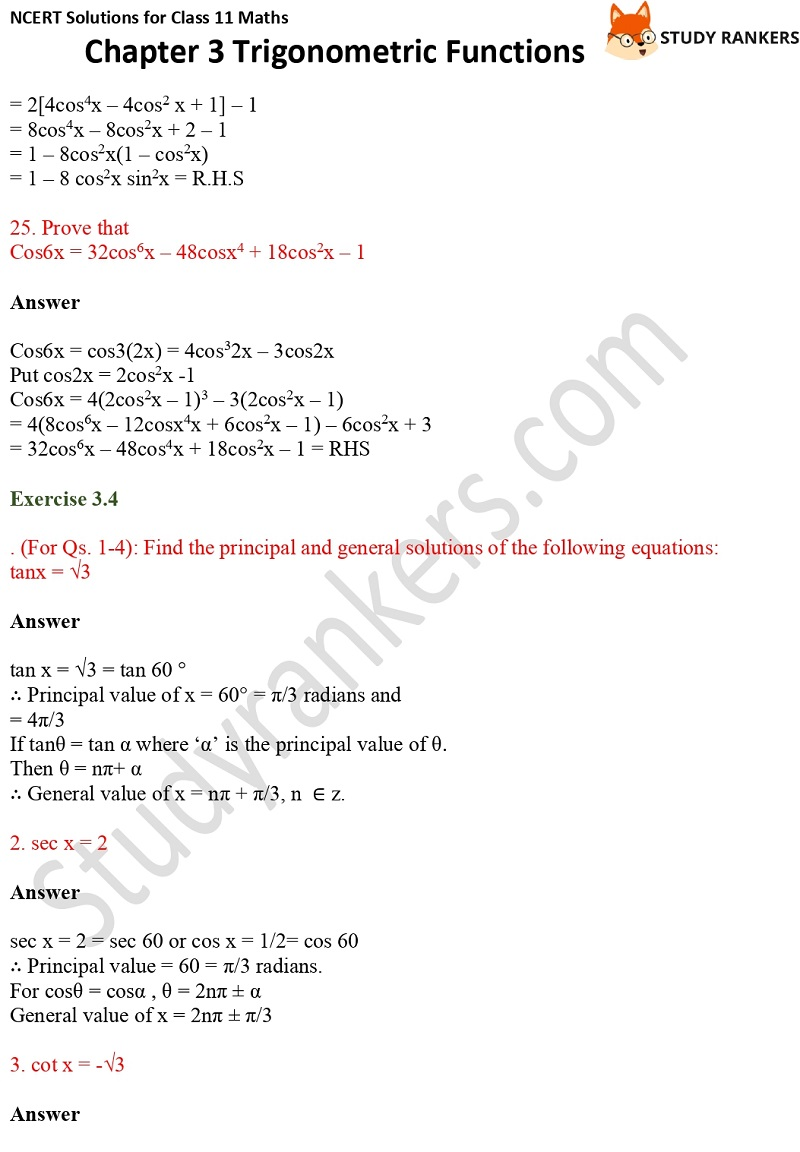 NCERT Solutions for Class 11 Maths Chapter 3 Trigonometric Functions 14