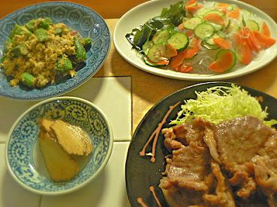 豚肉生姜焼き 春雨酢の物サラダ オクラ炒め
