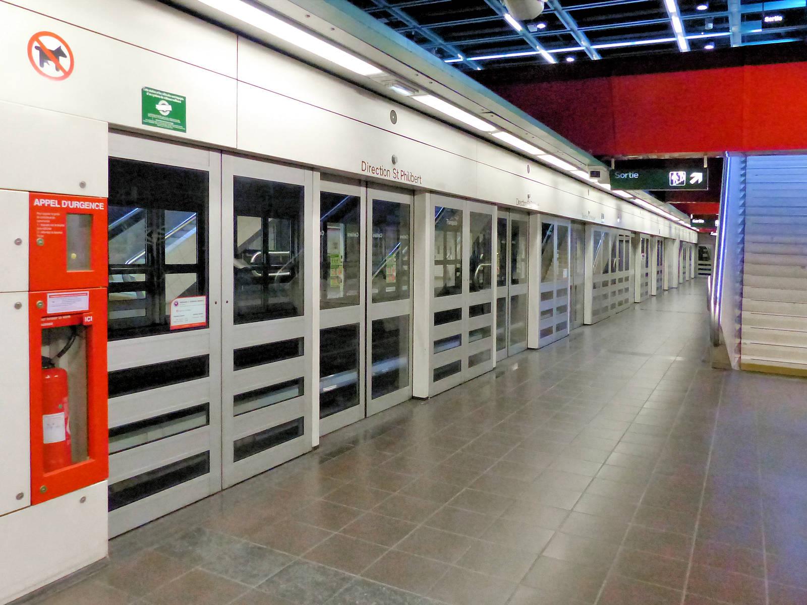 Station Métro Carliers, Tourcoing Lille - Quai.