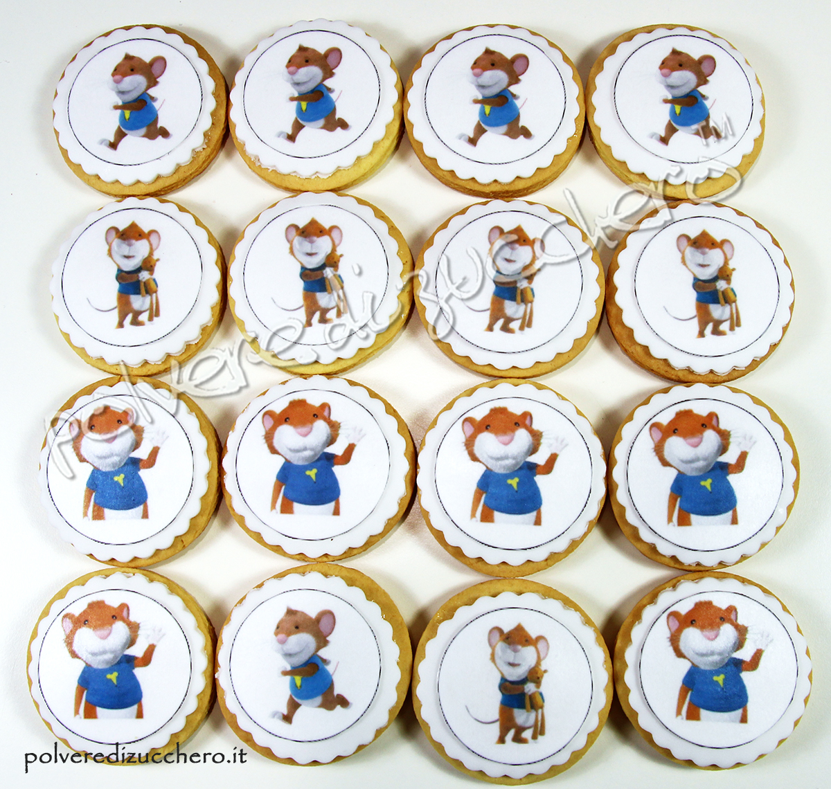 biscotti decorati pasta di zucchero topo tip cartoni animati cake design pasta frolla cialda alimentare polvere di zucchero