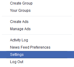 facebook menu settings