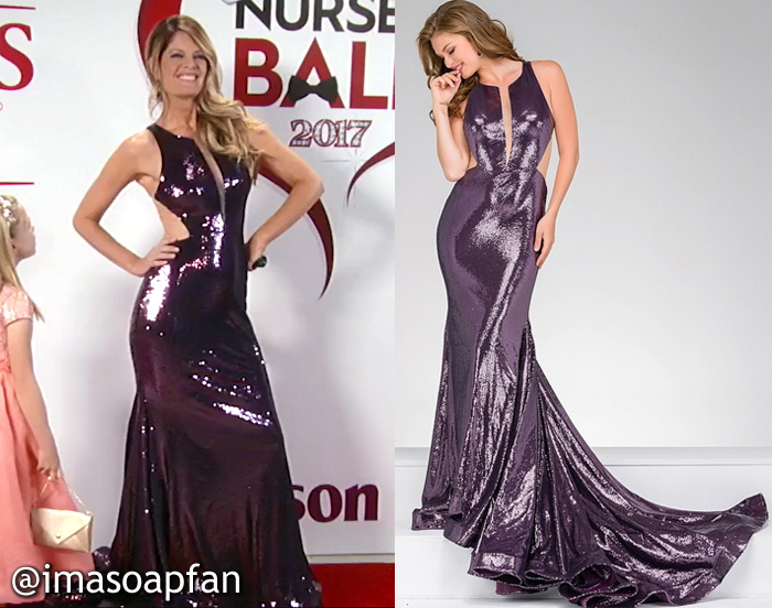Nina Reeves, Michelle Stafford, Eggplant Purple Sequined Gown, Jovani, Nurses Ball, GH, General Hospital