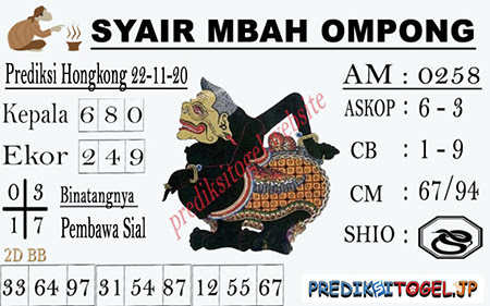 Syair Mbah Ompong HK Minggu 22 November 2020