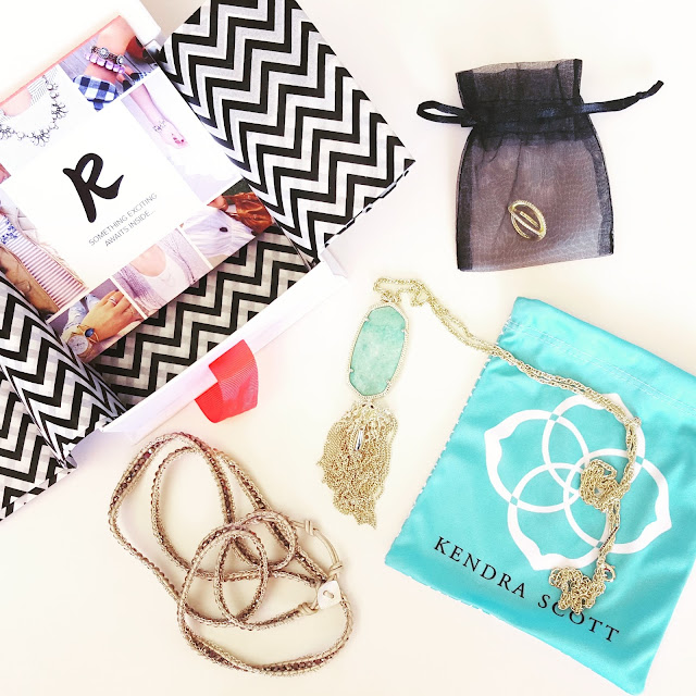 My first Rocksbox - use code WEARITFORLESSXOXO for your first month free! // Kendra Scott Rayne Necklace // Nakamol Wrap Bracelet // Sophie Harper Pave X Ring