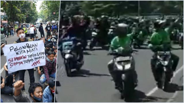 Pedagang, Ojol, hingga Mahasiswa Bandung Demo Tolak PPKM Darurat: Buka Woi Buka!