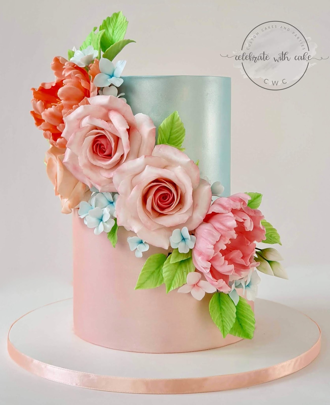 Celebrate With Cake Rose And Hydrangea Two Tier Wedding Cake